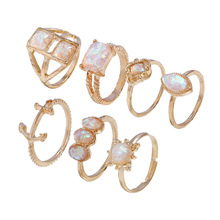 Luxury Cubic Zirconia Ring  7PCS Set for Women Fashion Engagement Party Jewelry Crystal Stone Rings