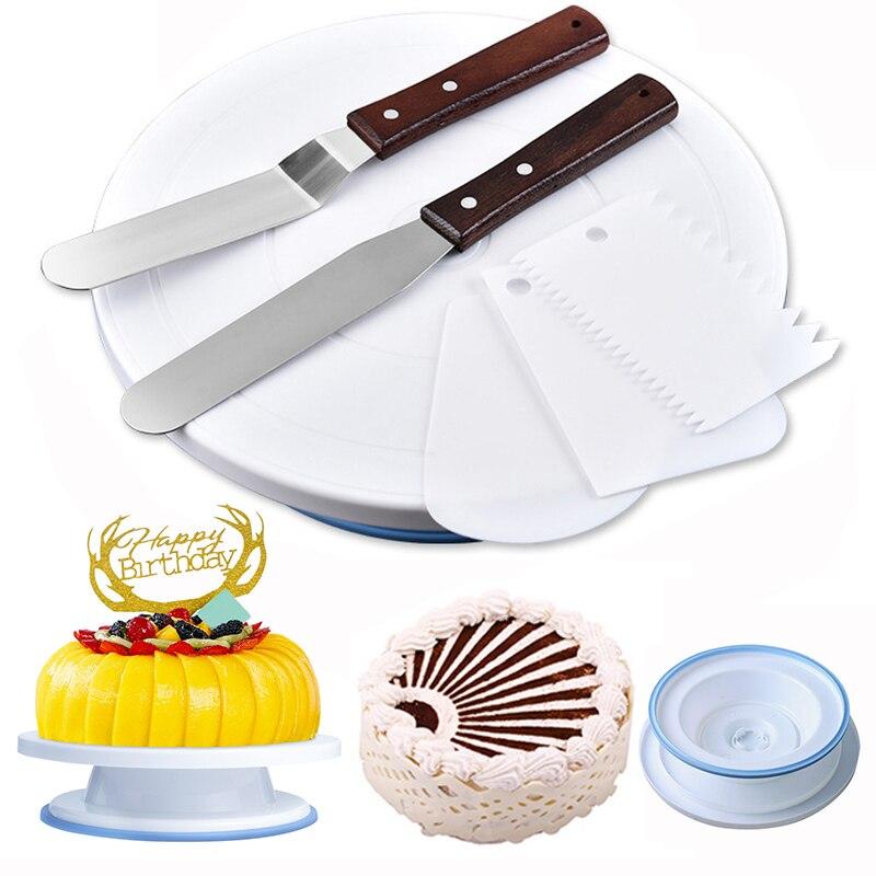 OLOEY Kitchenware Cake Decorating Tools 6pcs/set Plastic Turntable With Knife DIY Baking Tool Non-Slip Enamel Table Gadgets