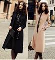2017 new arrival slim x-long cashmere wool coat outerwear women single breasted woolen overcoat