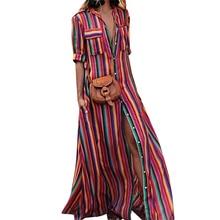 Hosszú Nyári Dress 2018 Csíkos Print De V V Neck Dress Bohemia Beach Dress Női Casual Loose Sifon Dresses