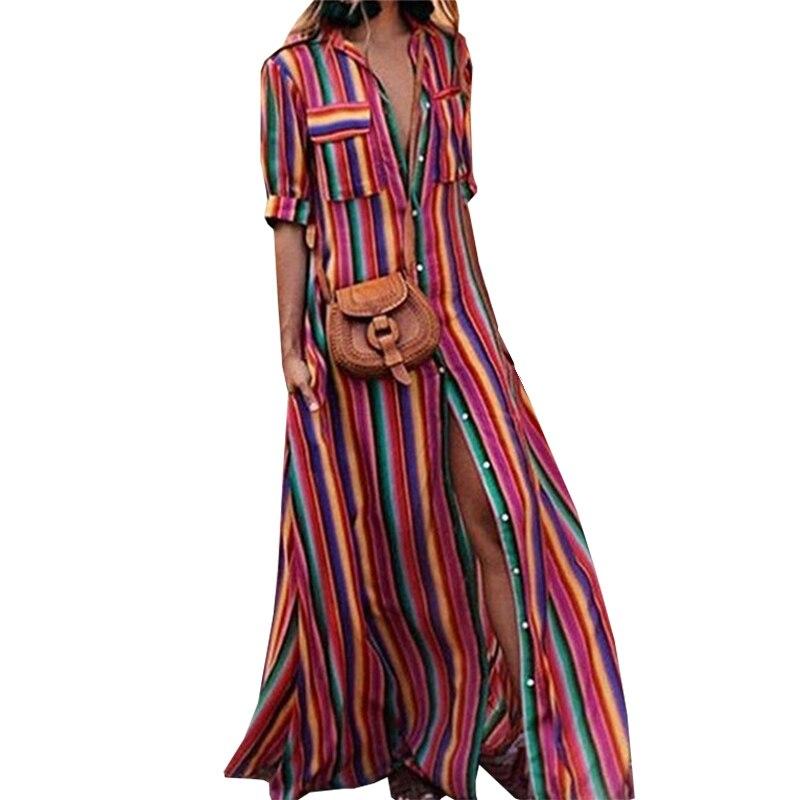 Long Dress Summer 2018 Striped Print Deep V Neck Dress Bohemia Beach Dress Women Casual Loose Chiffon Dresses