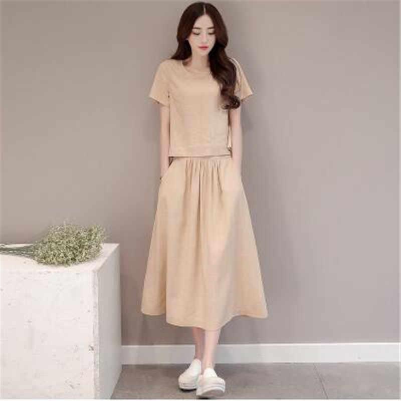 ... Женская летняя одежда из хлопка и льна, комплект из 2 предметов шт.,  модные ... 66113841cbf