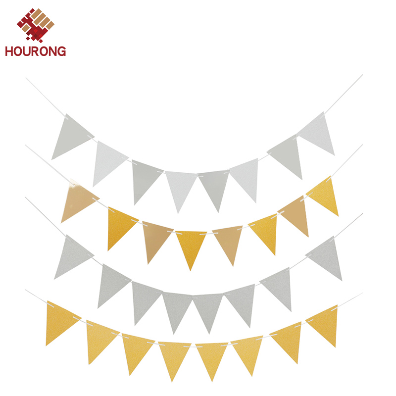 Glitter Paper Birthday Party Hanging Bunting Banner Flag: 1set Silver Gold Hanging Flag Banners Glitter Paper