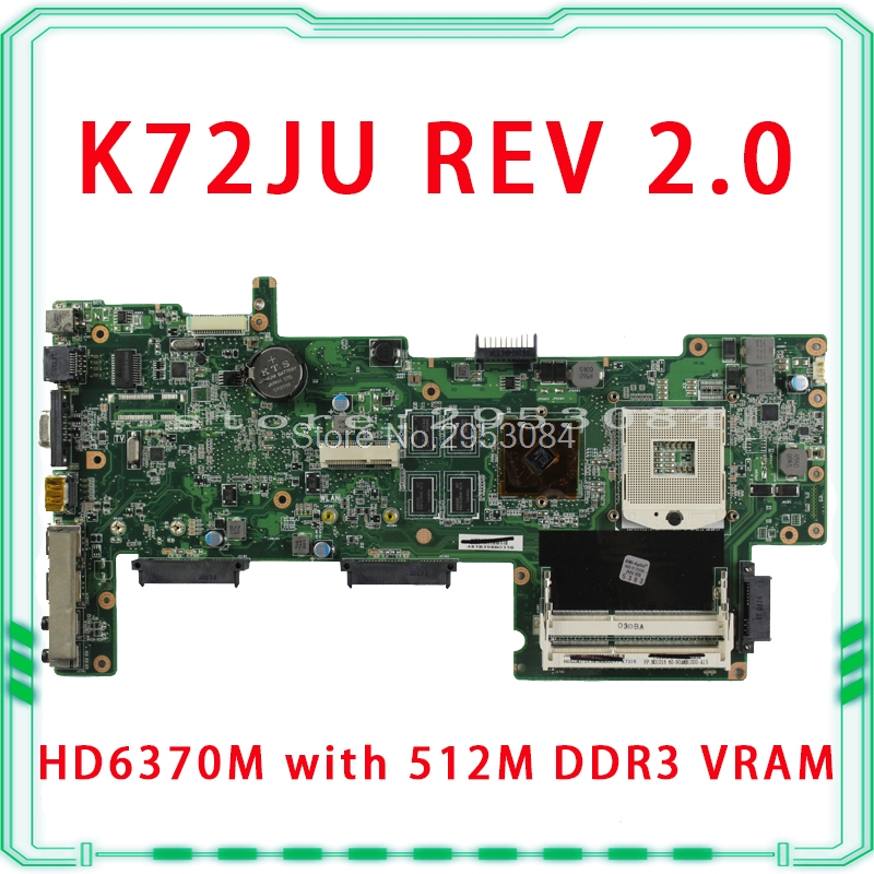 HOT selling K72JU K72JT laptop Motherboard for asus X72J mainboard HD6370M REV2.0 512M DDR3 216-0774211 fully tested 100% hot selling k72ju k72jt laptop motherboard for asus x72j mainboard hm55 hd6370m rev2 0 1gb ddr3 216 0774211 fully tested 100