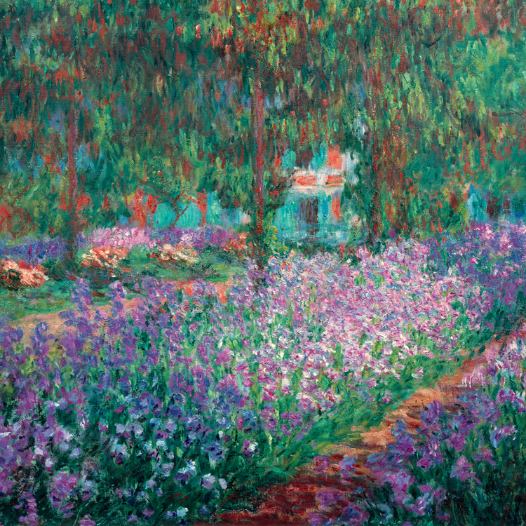Flower framesless canvas painting masterpiece reproduction The Artist's Garden at Giverny, c.1900 by Claude Monet