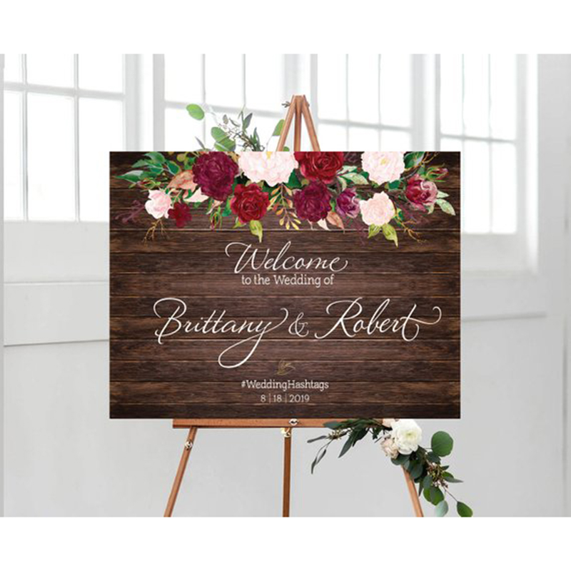 Wedding Flowers Names: Personalized Wood Wedding Welcome Sign With Flowers,Rustic