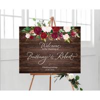 Personalized Wood Wedding Welcome Sign With Flowers,Rustic Welcome Wedding Sign Wood Alternatives With Couple Names&Date