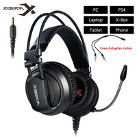 XIBERIA V10 PC Gamer Gaming Headphones With Microphones LED Light Volume Control Computer USB 2 3