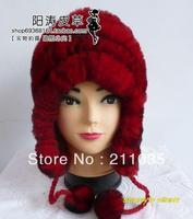 חורף אישה בתוספת גודל 100% מתיחה גדולה מגן אוזן סרוג ארנב הפרווה כובעי נקבה נשים לעבות כובעים חמים