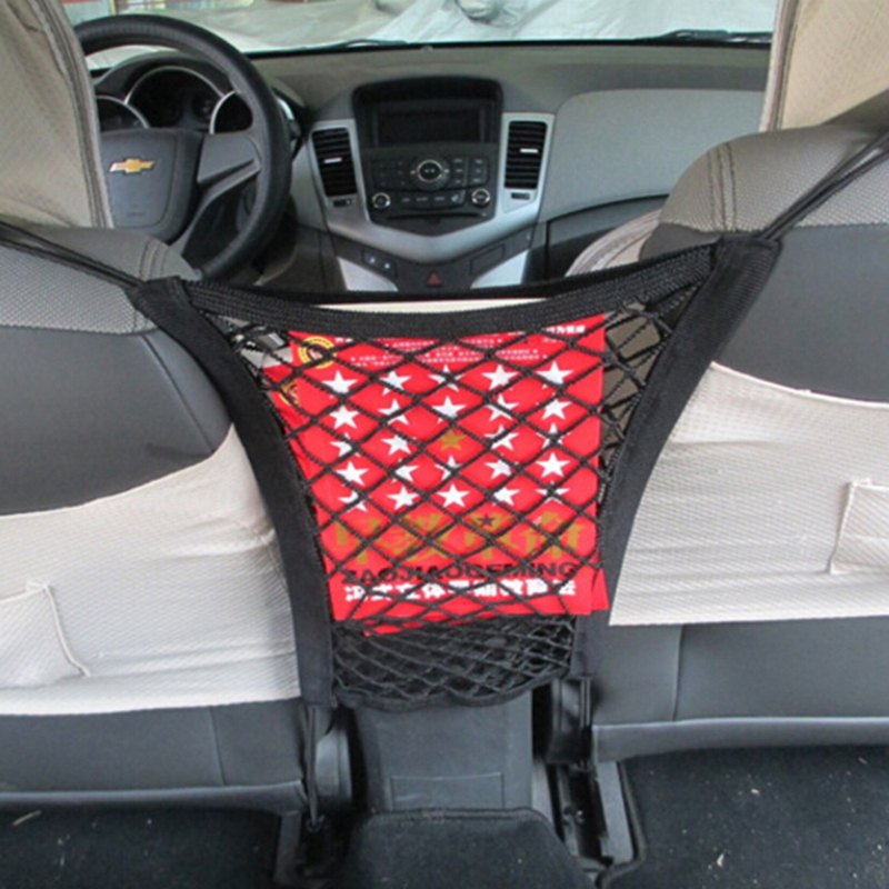 23x30cm universal elastic mesh net trunk bag between car organizer seat back storage mesh net. Black Bedroom Furniture Sets. Home Design Ideas
