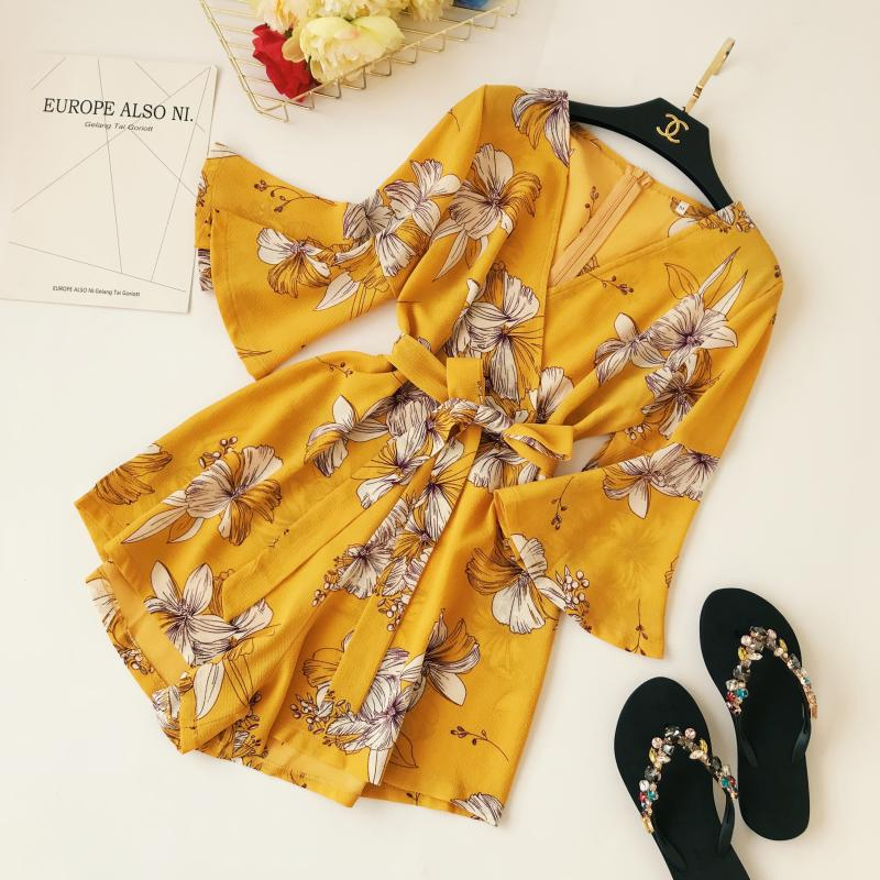 Yellow Red Floral Print Bow Wide Leg Lace Up Yellow Romper Jumpsuit 1