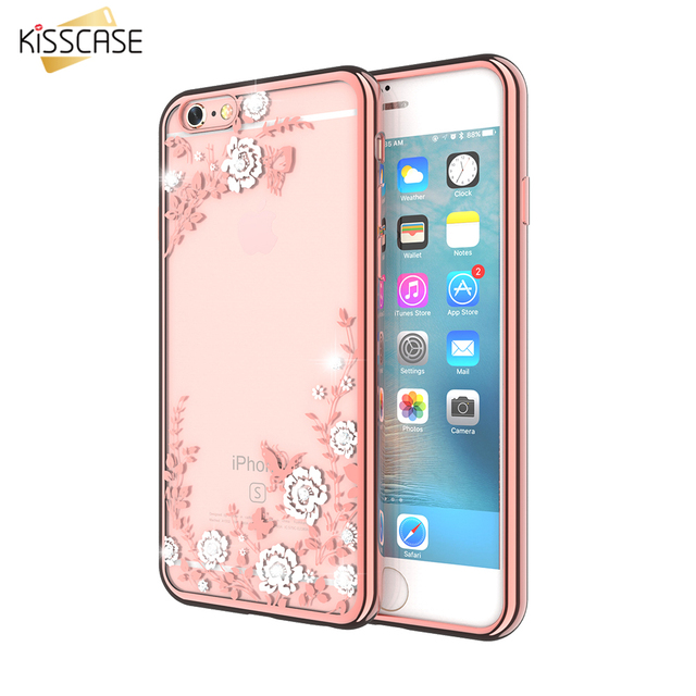 reputable site fea27 90a68 US $2.03 49% OFF|KISSCASE Glitter Flower Phone Case For iPhone 6 6s 7 Plus  Case Girly Diamond Phone Cover For iPhone X 5 5s SE 8 8 Plus Capa-in ...