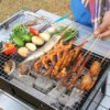 Outdoor Portable Handheld Folding Cold Rolled Steel Charcoal Barbecue BBQ Grill Pit Black White
