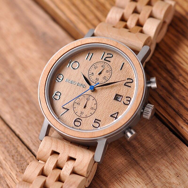 Relogio Masculino BOBO VOGEL Holz Uhr Männer Stoppuhr Armbanduhr Männlichen saat erkek Mit Datum Geschenk In Holz Box-in Quarz-Uhren aus Uhren bei  Gruppe 3