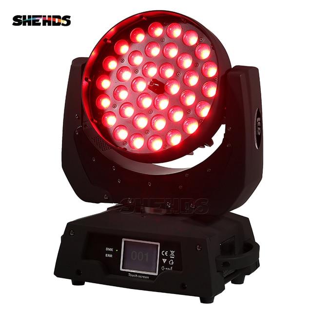 2PCS LED הזזת ראש אור לשטוף LED זום לשטוף 36x18W RGBWA + UV צבע DMX שלב נע ראשים לשטוף מגע מסך עבור DJ דיסקו מפלגה