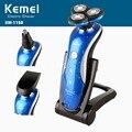 Kemei recarregável de 360 graus máquina de barbear lâmina de barbear para homens barbeador elétrico rotativo flutuante 3d rosto cuidados nariz aparador de pêlos de orelha