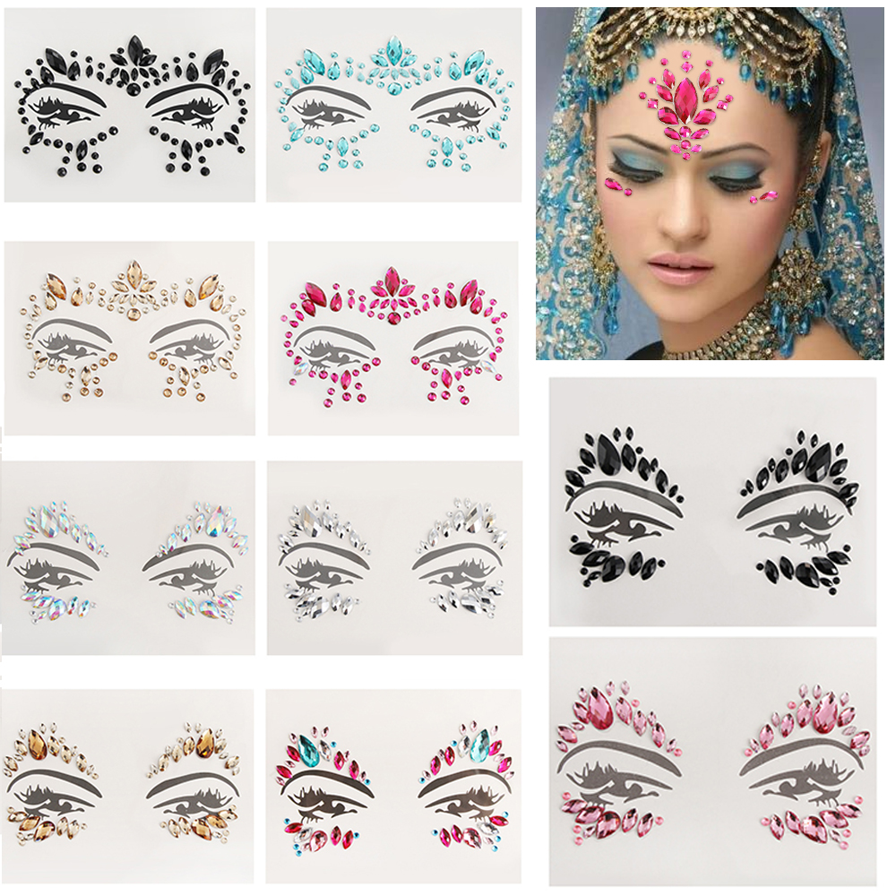 Adhesive Face Gems Rhinestone Temporary Tattoo Jewels Festival Party Body  Glitter Stickers Makeup Temporary Tattoos Stickers 133addc70cfd