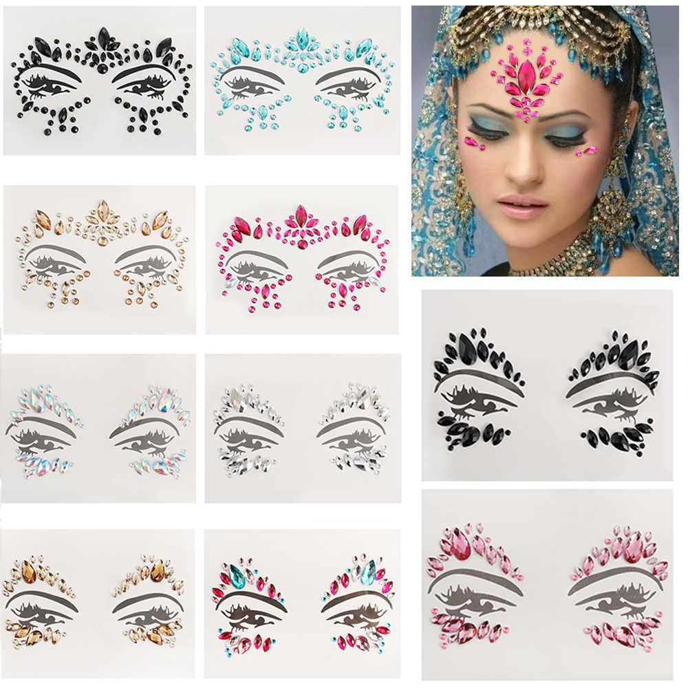 Adhesive Face Gems Rhinestone Temporary Tattoo Jewels Festival Party Body Glitter Stickers Makeup Temporary Tattoos Stickers