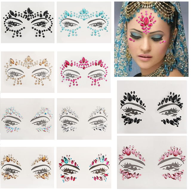 Adhesive Face Gems Rhinestone Temporary Tattoo Jewels Festival Party Body  Glitter Stickers Makeup Temporary Tattoos Stickers 16a1fd787836