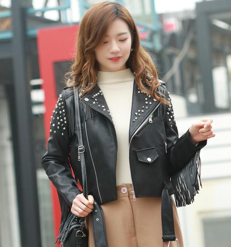 2018 New Fashion Women Spring Autumn Faux   Leather   Jackets Lady Motorcyle Zippers Rivets tassel PU Jacket coat Outerwear w199