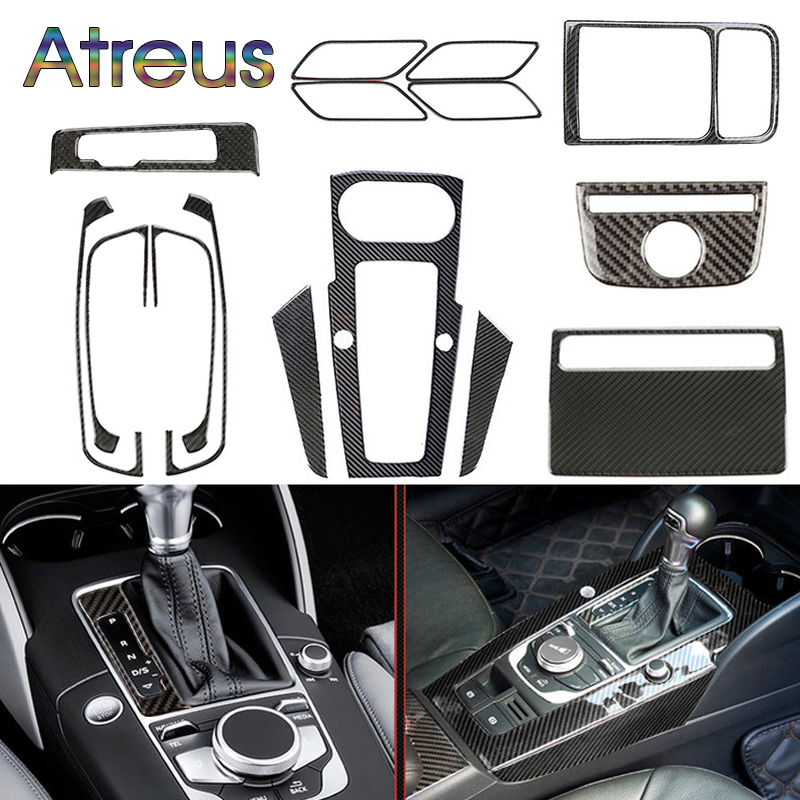 1set For <font><b>Audi</b></font> <font><b>A3</b></font> 8V <font><b>2018</b></font> 12-2017 Gears Shift Windows LIfter Panel Air Outlet Door Bowl Trim Carbon Fiber Interior Car Stickers image