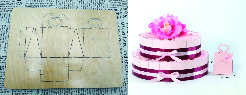 Gift cake box die cutting & Wooden dies fit // Scrabooking Box