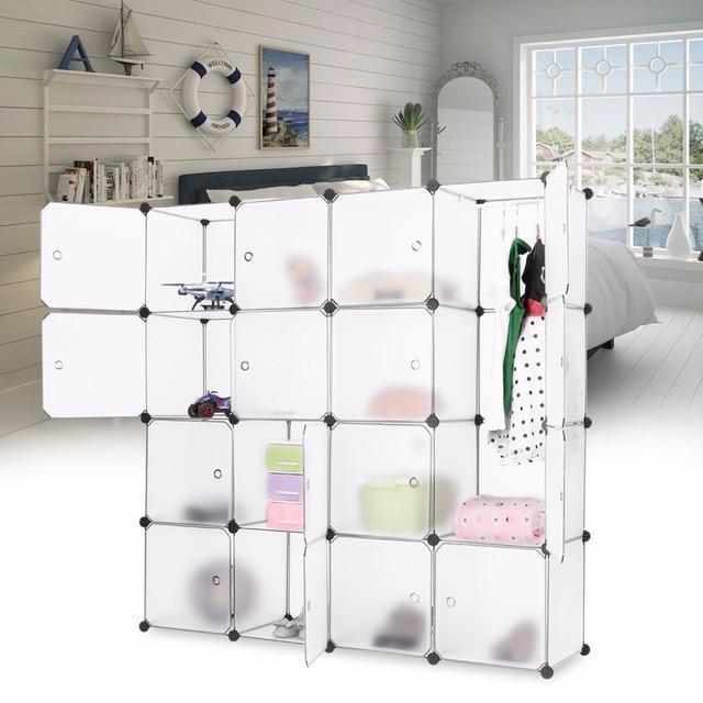 Langria White 16 Cube Interlocking Modular Storage Organizer Shelving System Closet Wardrobe Rack With Doors For Home Clothes