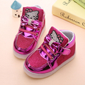 New Boys Girls PU Leather Children Led Kids Light Up Sports Shoes Luminous Glowing Sneakers Flats With Heels Shoes Size 21-30