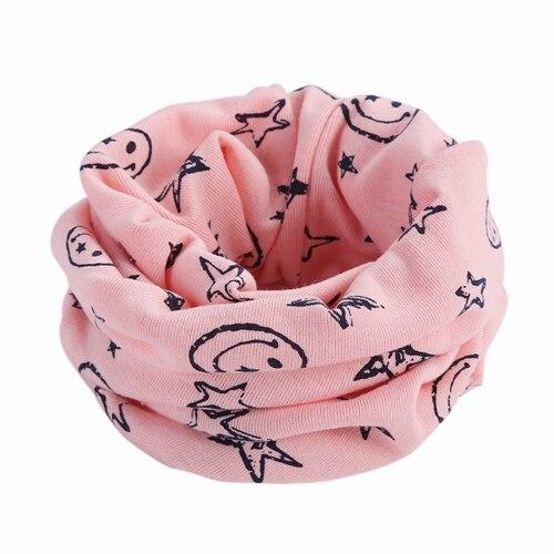 Детский Теплый хлопковый шарф-труба для мальчиков и девочек, шарф-шаль с круглым вырезом, шейный платок с рисунком улыбающегося лица и звезды - Цвет: R73-2