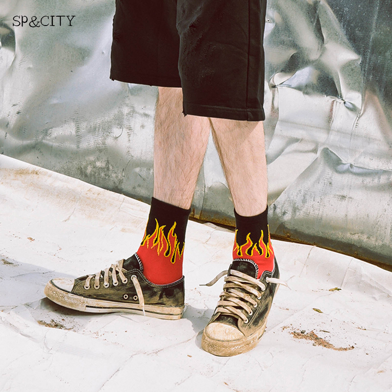 Unique Design Fire Patterened Short Socks Hipster Mens Short Skateboard Socks Art Funny Male Cotton Harajuku Socks Fashion Sox