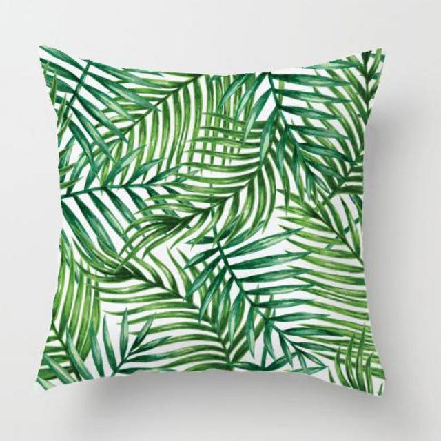 Office Chair Decoration Green Leaves Pillow Case Tropical Palm Plants Banana Leaf Soft Plush Cushion Cover For Home Accessories