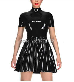 Sexy Black Sleeveless One Piece Latex Summer Dress with Front Zipper for Women