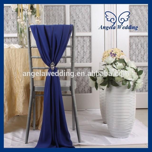 sh003d cheap fancy wedding navy blue chiffon chair sash with buckle