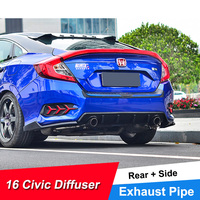 JNCFORURC Rear Diffuser Body Kit Exterior Tuning For honda Civic 2016 17 18 Sedan Rear Side Diffuser Dual pipe Exhaust For Civic