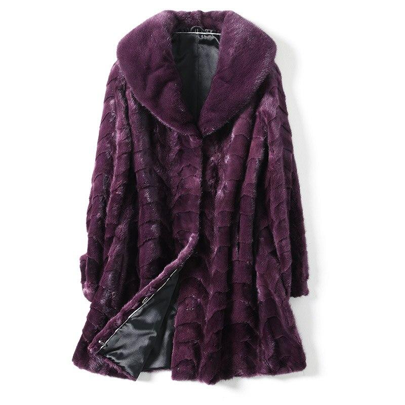 2012 De Purple Lutte Mince Blue Femelle dark Vison Courte Conception black Fourrure Manteau xUznd4q0U