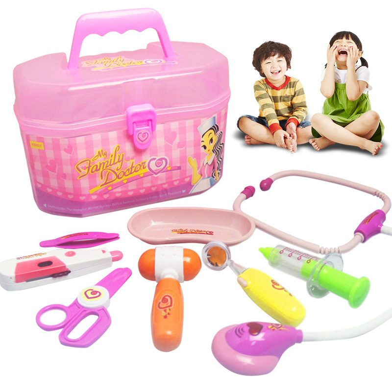 Hot Selling 8 Piece Simulation Medical Kit Kids Doctor Role Play Set Carry Case Toy E2shopping