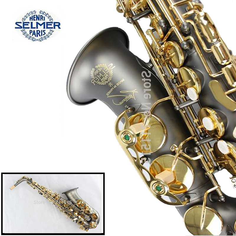 France Henri Selmer Gold Plated Alto Saxophone Reference 54 Alto Sax Black Nickel Gold for Playing the Jazz Music brand new france henri selmer soprano saxophone 80 black nickel gold sax mouthpiece with case and accessories
