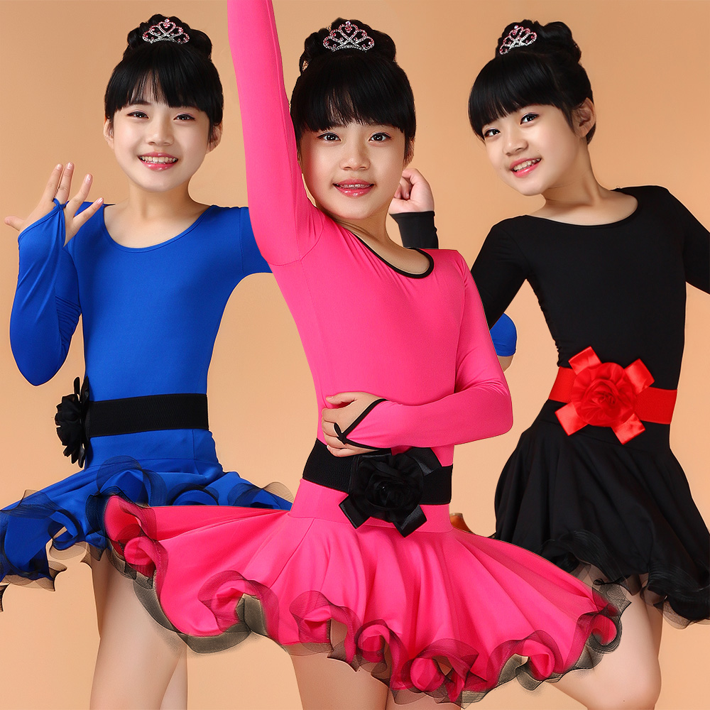 Childrens Fancy Dress Sexy Latin Ballroom Dance Dress Long Sleeve Tango Dress Girls Salsa Rumba Cha Cha Samba Costume Dance Wear