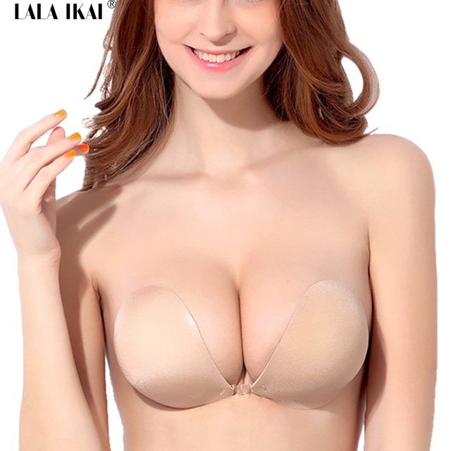 983a57d50a 2018 New 3CM Thicken Push Up Silicon Bra Front Closure U Plunge Invisible  Wedding Backless Strapless Sticky Bra Woman SWA0062-5