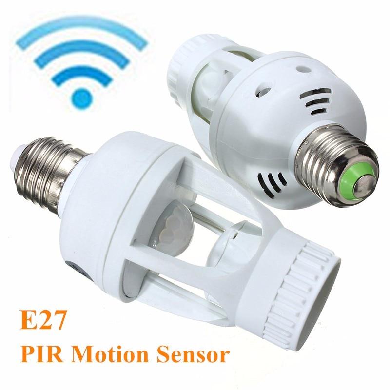 360 Degree Infrared PIR Motion Sensor LED E27 Lamp Base Light Bulb Switch Lamp Holder Converter Adapter 110V/220V