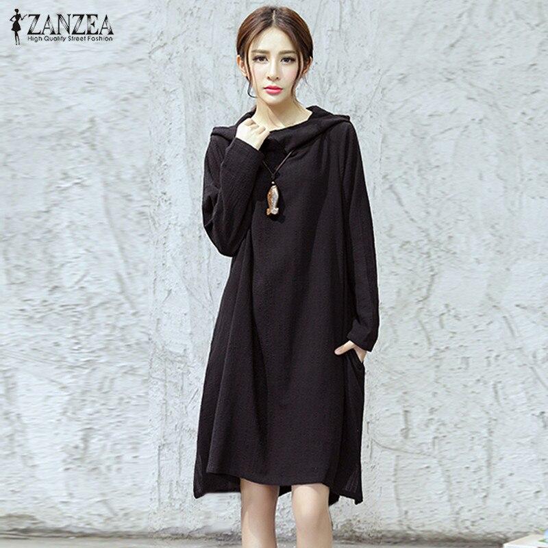 Cowl Neck Hooded Dress: Plus Size ZANZEA Spring Womens Hooded Cowl Neck Asymmetric