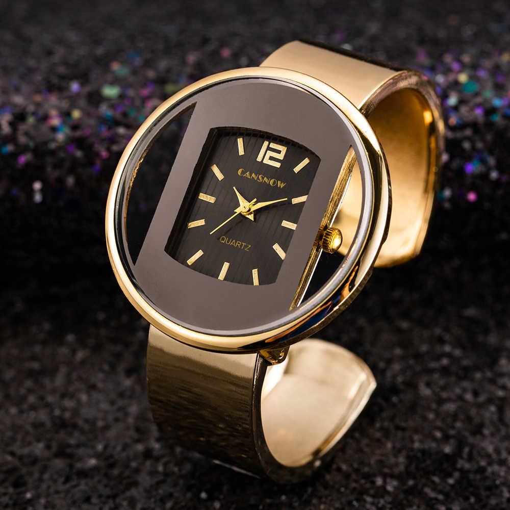 ساعات حريمي 2019 ساعة جديدة فاخرة بسوار ذات علامة تجارية باللون الذهبي والفضي فستان حريمي كوارتز ساعة رائعة بيان كول ساتي