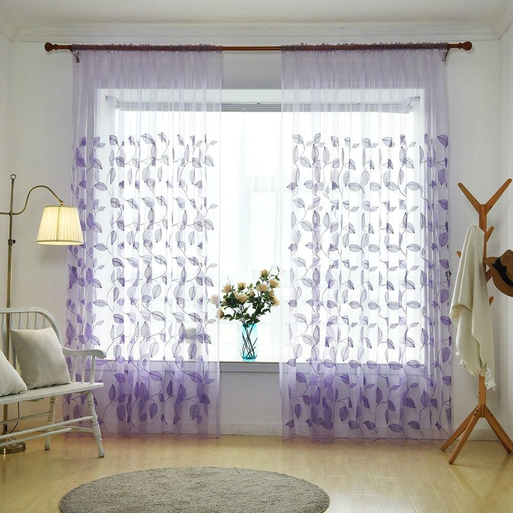 1 Piece 1x2.5M Lavender Floral Leaf Pattern Print Curtains ... - photo#40
