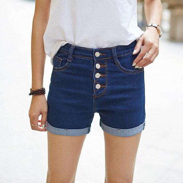 2017 Novos das Mulheres Quentes Shorts Jeans de Cintura Alta Shorts Jeans Stretch Magro Marca de Jeans Feminino Verão Primavera Alta Elástica calções