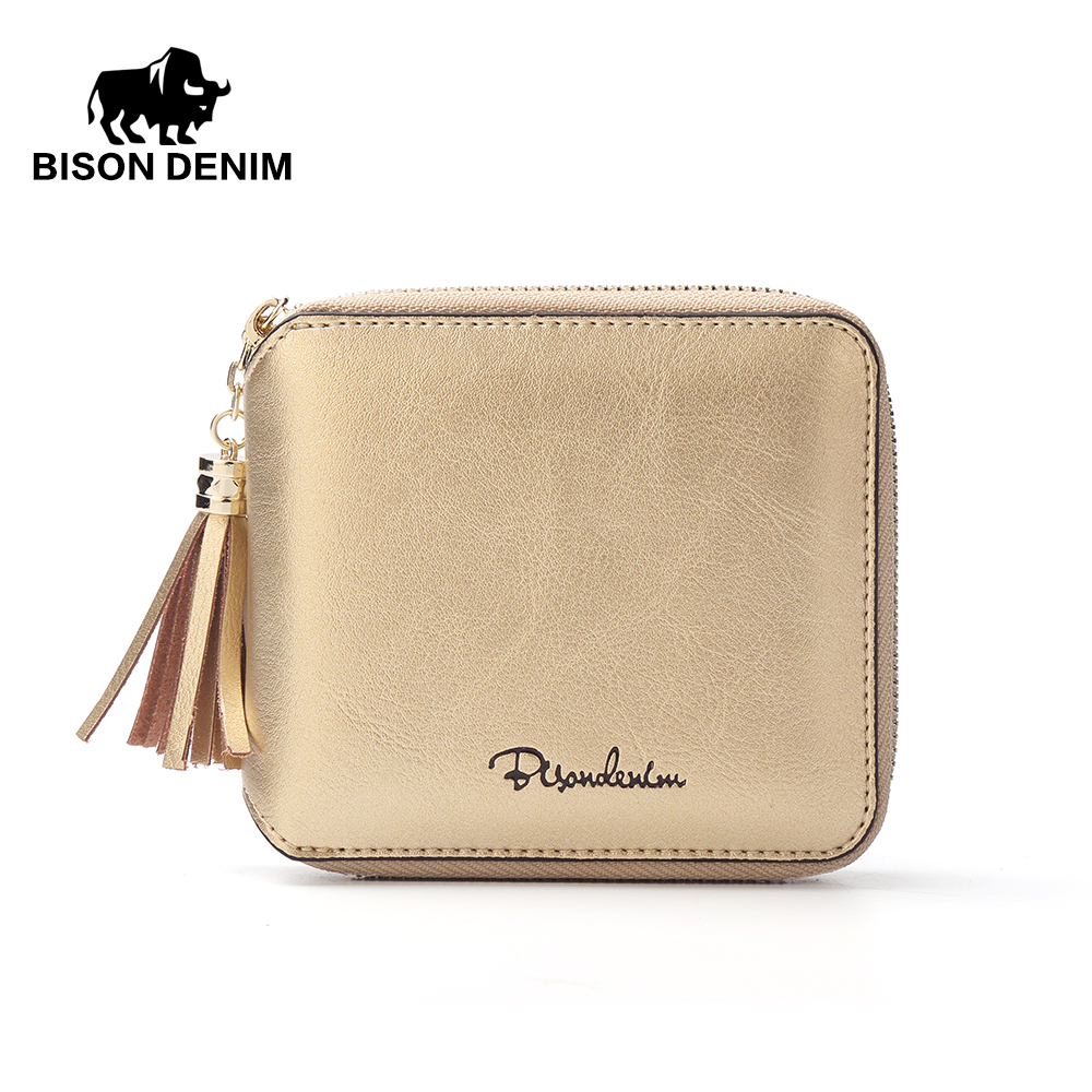 BISON DENIM Women Purse Holders Cowhide Genuine Leather Women Wallet Tassel Zipper Purse Photo Slot Fashion Bag N9336