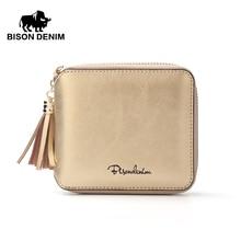 BISON DENIM женщин кошелек держатели натуральной кожи женщин кошелек кисточкой молнии кошелек фото слот Мода сумка N9336