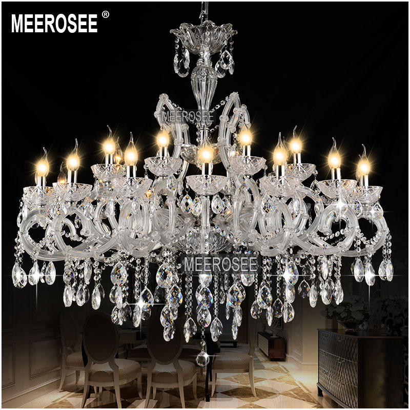 Aliexpress Hot Classic Crystal Chandelier Light Fixture Clear White Lamp Pendant For Hotel Restaurant Lobby Foyer Md8233 From