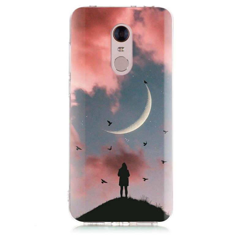 Pour Xiao mi rouge mi 4X Note 3 mi A1 Note 4 Pro 4A Note 5 6 6pro pour rouge mi 5A 6 6A TPU doux ciel paysage peint étui D011