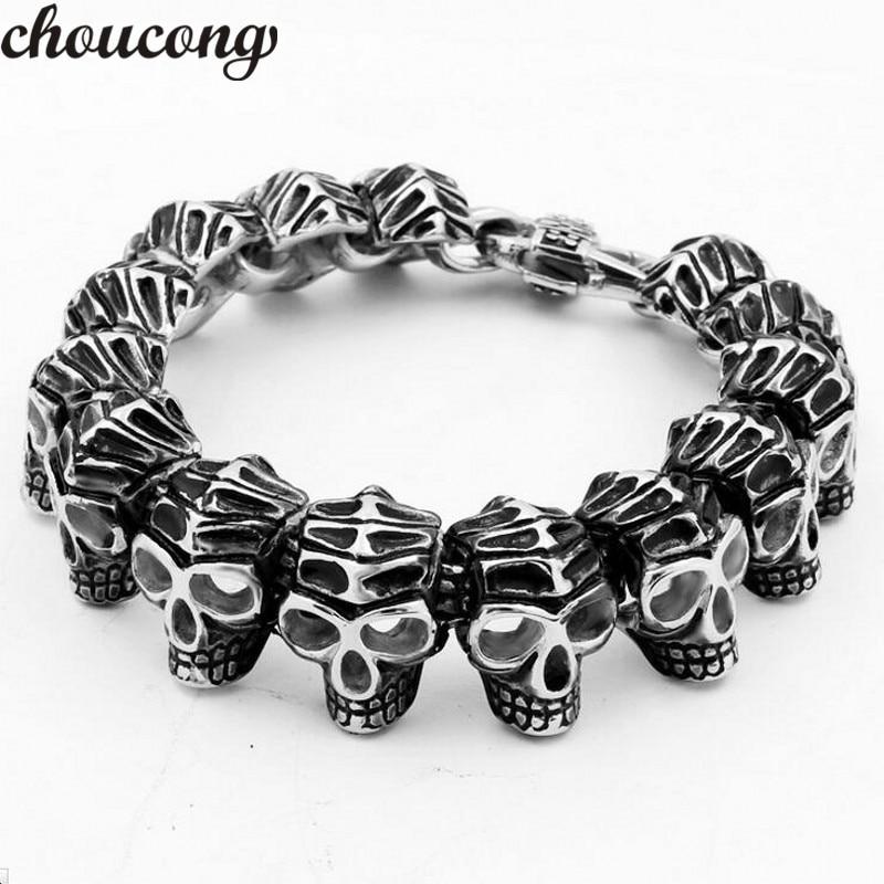 Choucong nouveau 316L en acier inoxydable Bracelet longueur 21 cm énorme lourd hommes squelette crâne bracelet fantôme Bracelet Biker Punk bijoux