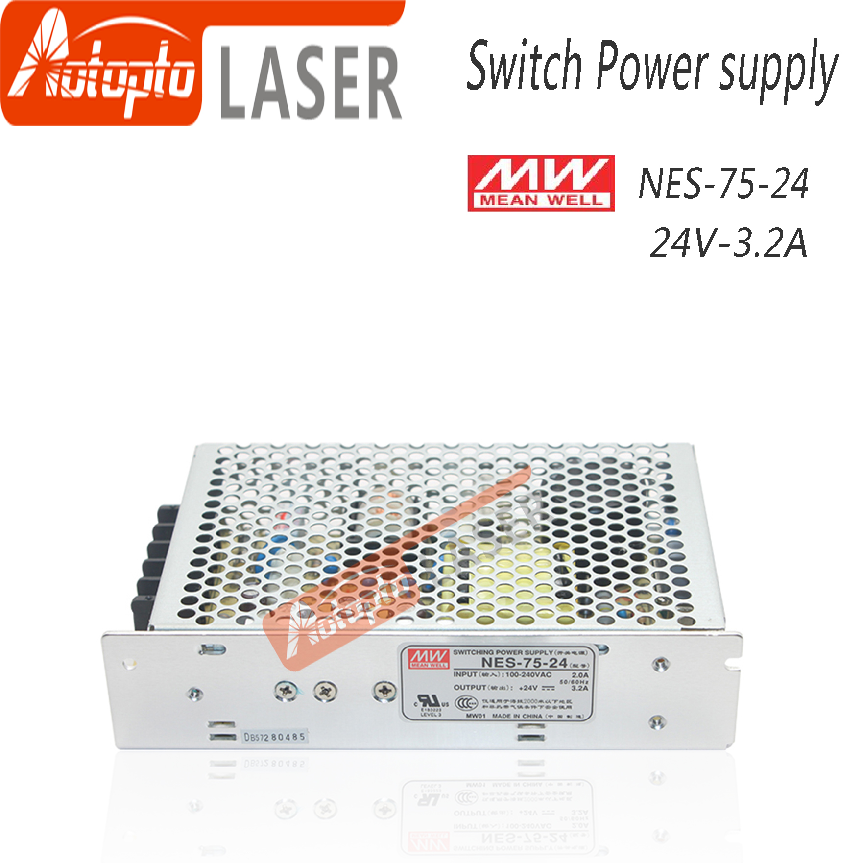 Taiwan Meanwell Switching Power Supply NES-75-24 5V 12V 15V 24V  48V  For Laser Controller Single Output DC Power Supply